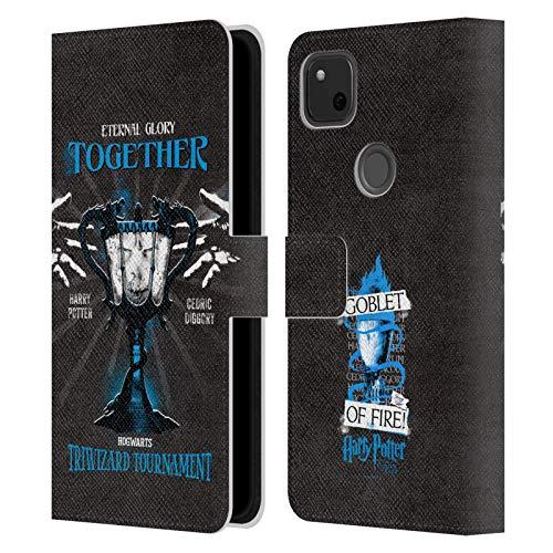 Head Case Designs Oficial Harry Potter Triwizard Cup Harry Cedric Goblet of Fire I Carcasa de Cuero Tipo Libro Compatible con Google Pixel 4a