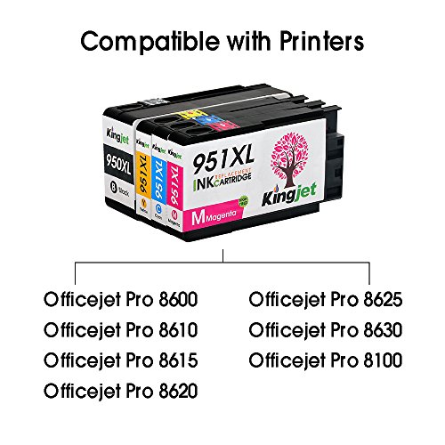 KINGJET Compatible Ink Cartridge Replacement for 951, 951XL Work with Officejet Pro 8100 8600 8610 8615 8620 8625 8630 Printers, (2Magenta, 2Cyan, 2Yellow) Photo #6