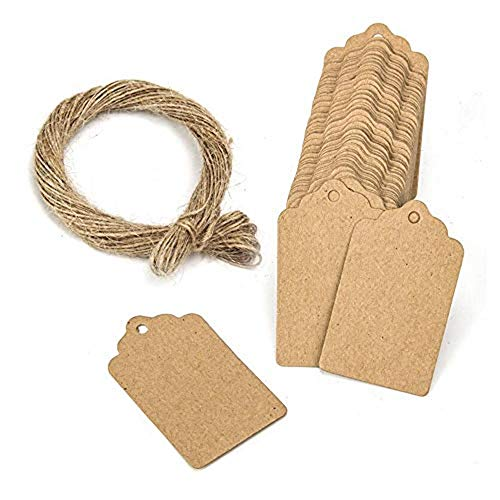 100PCS Kraft Paper Tags Brown Tags Gift Tags Hang Tags 1.9 * 1.1 Inches with 1PC Jute Twine String 20 Meters Long for DIY Crafts Luggage Wedding Name Tags Price Tags