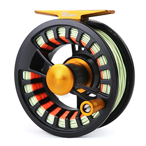 M MAXIMUMCATCH Maxcatch Tail Fly Fishing Reel Waterproof Light Weight Large Arbor Teflon Disc with CNC-machined Aluminum Alloy Body 5/6 7/8wt (Black Reel with Fly Line, 5/6wt)