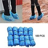 ZOI 100Pcs / Set Desechables de plástico Azul Cubrebotas Impermeables Cubrezapatos Cubre Zapatos Impermeable