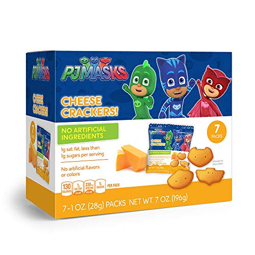 PJ Masks Shaped Cheese Crackers Snack Packs for Kids Healthy Snacks, Birthday Party Supplies and School Lunches, 1 oz bags, Snack Box of 7