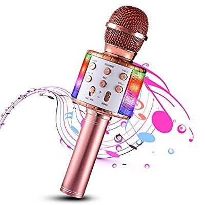 Wireless Karaoke Microphone, 4 in 1 Bluetooth Handheld Portable Speaker Home KTV Player with Dancing LED Lights Record Function for Kids Party Singing, Compatible with Android & iOS Devices (rose red)