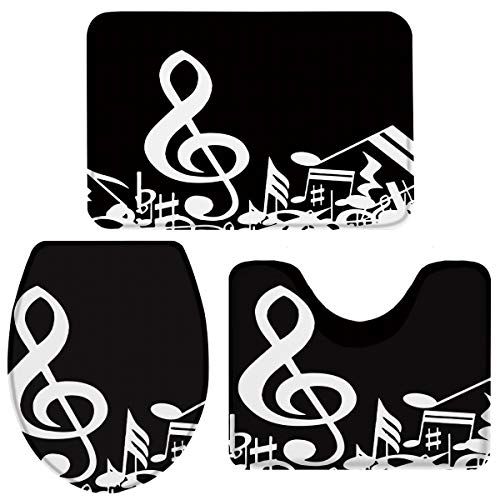 Infinidesign Music Decor Sponge 3 PCS Bathroom Rugs Set - Absorbent Non-Slip Bath Mat, Washable Contour U-Shaped Rug Toilet Lid Cover Large Set, Music Notes Artwork New York