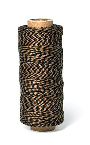 Hemptique 125 m/2 bobina de hilo de algodón cordón de pastelero de fuerza media, negro/marrón claro