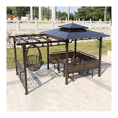 YYDD Villa Garden Furniture, Outdoor Gazebo Lawn Tent, Patio Gazebo with Swing Chair Outdoor Canopy Gazebo, Villa Garden Gazebo Grape Rack, Ideal for BBQ, Party, Family Gathering