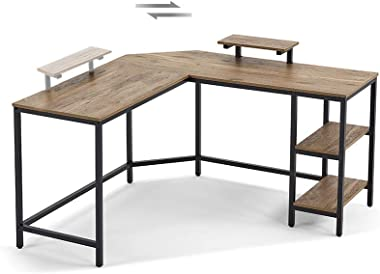 L Shaped Computer Desk 54 Inch Writing Laptop Desk for Home Office, Gaming Desk with Monitor Stand