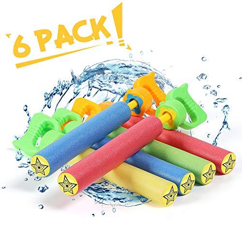 Lucky Doug Water Gun for Kids, 6PCS Foam Water Blaster Squirt Gun Set Water Guns Pool Toys for Kids...