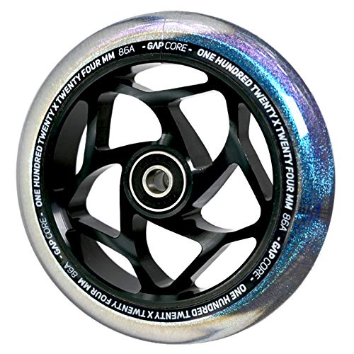 Blunt Gap Core Stunt-Scooter Rolle Abec9 Wheel 120mm +Fantic26 Sticker (Schwarz/Pu Galaxy Transparent Glitter)