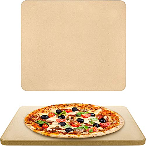 Vescoware Pizza Stone for Oven  Baking Stone for Bread  16x15 inch Rectangular Pizza Stone for Grill with Recipes EBook