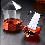 AMAZMIN 日本酒 グラス 酒ガラス タンブラーグラス ウィスキーガラス クリスタルガラスシェーカー,木製ホルダー付きダイヤモンド型ジュースガラス/ 340ml