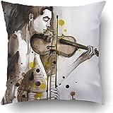Csoos Kissenbezüge Modern Illustrated Portrait Young Man Violine Selbstgemachte Musik Aquarell...