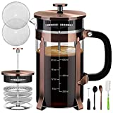 Veken French Press Coffee Maker (34 oz), 304 Stainless Steel Coffee Press with 4 Filter Screens,...