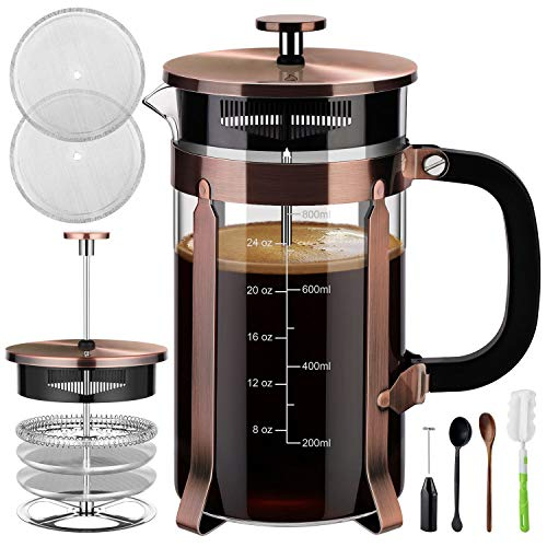 Veken French Press Coffee Maker (34 oz), 304 Stainless Steel Coffee Press with 4...
