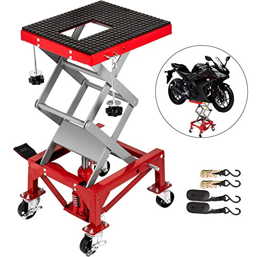 VEVOR Motorcycle Jack, Hydraulic Motorcycle Scissor Jack with 300LBS Load Capacity, Portable Lift Table, Adjustable Motorcycle Lift Jack, Red Motorcycle Lift Stand with Lockable Casters