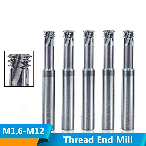 CHENWN 1Pc 3 Fluten Metrisches Gewinde Schaftfräser Hartmetall CNC Gewindewerkzeuge M1.6 M2 M2.5 M3 M4 M5 M6 M8 M10 M12 Gewinde Mills,M10*1.5*D8*60