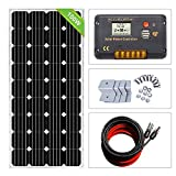 ECO-WORTHY Kit de inicio solar monocristalino de 12V 100W: Panel solar mono de 1pc 100W + Controlador solar PWM de 15A + Cable solar fotovoltaico de 30 Ft con adaptador solar + Soportes de montaje Z