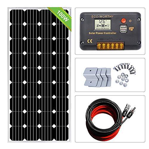 ECOWORTHY 12 Volt 100 Watt Solare monocristallino Starter Kit: Pezzo 100 W Pannello Solare Mono + 15 A PWM Solar Controller + 9,1 m Solare PV Cavo con connettori + Z staffe di Montaggio