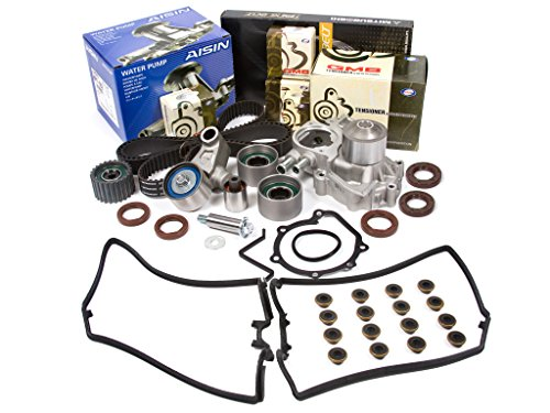 Evergreen TBK328MVCA Compatible With 02-05 Subaru Impreza WRX Turbo 2.0 DOHC EJ20 Timing Belt Kit Valve Cover Gasket AISIN Water Pump