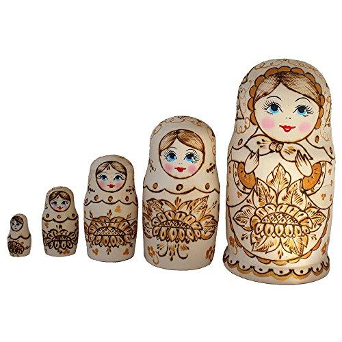 Semenowskaya Rospis Matroschka Babuschka Matryoshka Holz Figuren Sonnenblume 5 Puppen Holzbrandmahlerei