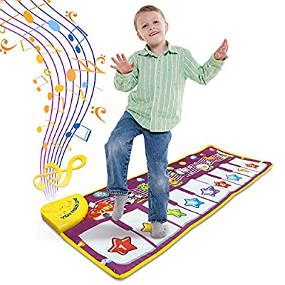 Greetmirth Kids Musical Mats, Piano Mat with 25 Music Sounds, Dance Mat for Kids, Music Piano Keyboard Dance Floor Mat Carpet Animal Blanket Touch Playmat, Early Education Toys for Baby Girls Boys