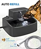 2020 Newest Dog Water Fountain Auto Refill Outdoor Indoor,Upgraded 2 in 1 Cat Drinking Fountain and Water Bowl,Dogs Garden Automatically Filling Water Feeder for Multiple Pets,With High Qualified Hose