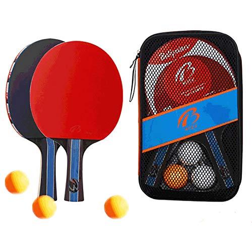 Yoshotech Juego de palas de ping pong con funda de almacenamiento portátil y juego completo de ping pong con velocidad avanzada, control y giro, juego en interiores o exteriores