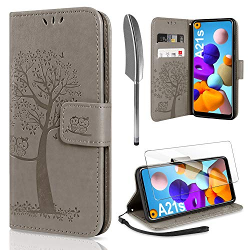 AROYI Handyhülle für Samsung Galaxy A21S Hülle + Schutzfolie,Galaxy A21S Klapphülle Hülle PU Leder Flip Wallet Schutzhülle für Samsung Galaxy A21S Tasche, Grau