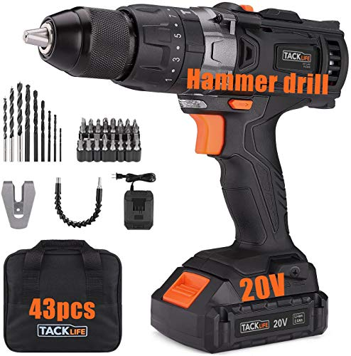TACKLIFE 20V Cordless Drill, 35N.m, 43pcs, 1 Hour Fast Charger & 2.0Ah Li-ion Battery, Hammer Drill with 0-1600RMP Variable Speed, 1/2' Metal Chuck, 16+3 Clutch, Drilling Wood, Metal, Cement - PCD04B
