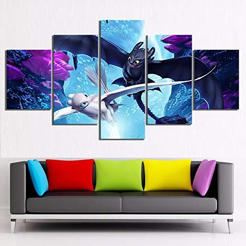 Zhuhuimin modulaire afbeelding canvas muurkunst, zoals men draken 3 film 5 panelen schilderij afdrukken posters woonkamer trainen L-30x40 30x60 30x80cm Frame