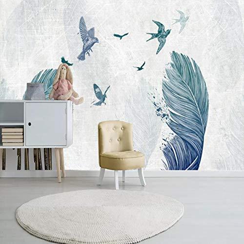 Nordischer unbedeutender Tapetenwohnzimmer Fernsehhintergrundwandpapier-nahtloser Wandbelag amerikanischer Aquarellfedertrend-Wandpastegrenzeffekt unter Schlafzimmer350cm×256cm