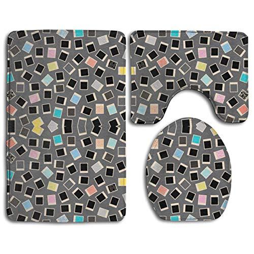 Dawn & Rose Badezimmerteppich – Toilettensitzbezug und Teppich – rutschfeste geometrische Fotofotografie streuen auf Grauer Badematte Bad Küche Teppich Fußmatten