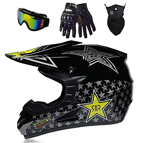 Casco de motocross, casco de motocross, casco de motocross y enduro, casco de descenso, casco estándar infantil D.O.T, casco de quad, quad, quad, ATV, con máscara, guantes (negro claro, M)