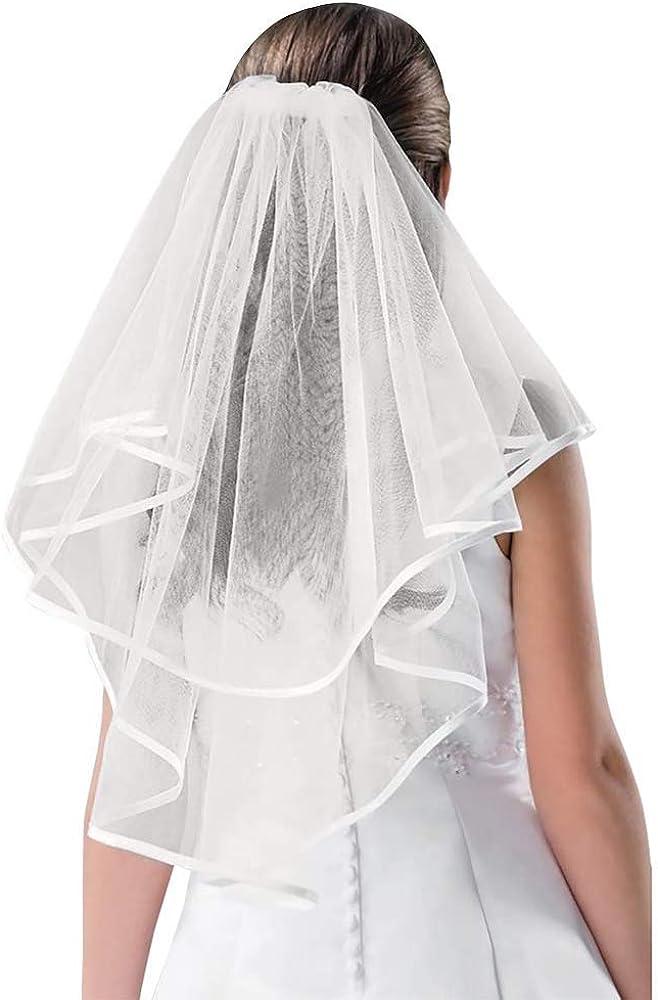 Bridal Wedding Veil White Double Ribbon Edge Center, No Color, Size No Size