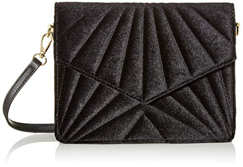 PIECES Damen Pcica Velvet Cross Body Umhängetasche, Schwarz (Black), 7x18x23 cm