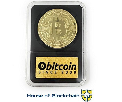 Bitcoin Coin in Collector's Edition Case: Limited Edition Physical Gold Coin with Crypto Coin Display Case   Cryptocurrency Coin with Realistic Details   Desk Home Office Idea for HODL Fans