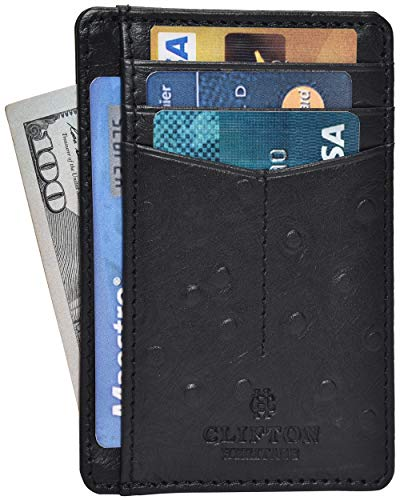 Clifton Heritage Minimalist Slim Leather Wallets for Men – RFID Blocking Men's Card Cases Holder Wallet