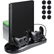 Lictin Xbox One X Vertical Stand Cooling Fan with Dual Charging Station for Xbox One X Controller 7 Slots for Game Storage+ 8 Silicone Thumbs for Xbox One X Controller(Black)