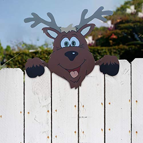 Christmas Yard Art Reindeer Fence Peeker, Fence and Garden Peeker, Charming Christmas Peeks at Santa Claus and Elk ,for Home Outdoor Yard Lawn Pathway Parking Fence Walkway Driveway Holiday Decorations (B)