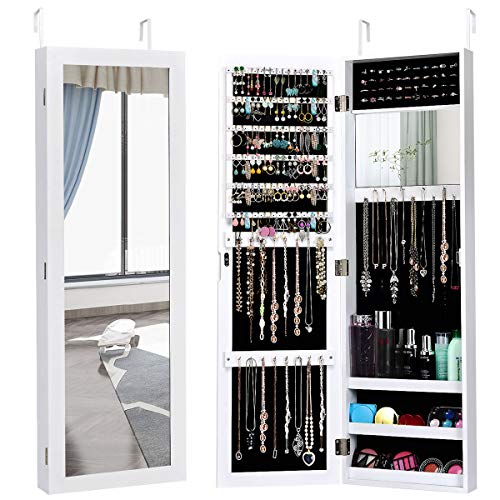 Giantex Jewelry Armoire Cabinet Wall Door Mounted with Full Length Mirror, Jewelry Organizer with Makeup Mirror, Ring Earring Slots, Necklace Hooks, Large Capacity Storage Jewelry Armoire (White)
