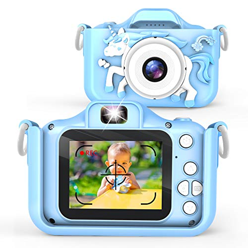 Waayu Upgrade Kids Camera,1080P HD Digital Video Cameras for Children,Best Birthday Gifts for Age 3-9 Child,Portable Selfie Toy for 3 4 5 6 7 8 9 Year Old Boys Girls with 32GB SD Card -Blue