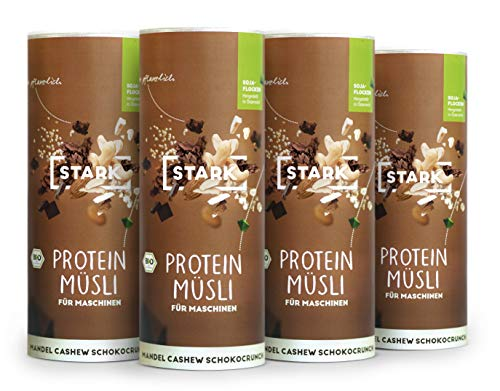4x STARK Protein Müsli á 500g I Mandel Cashew Schokocrunch I Veganes Proteinmüsli I 29% Protein