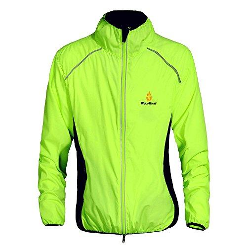 WOSAWE Herren-Fahrradjacke Winddichte wasserdichte MTB Mountainbike Jacket Für Radfahren, Joggen & Wandern (BC220 Grün XXXL)