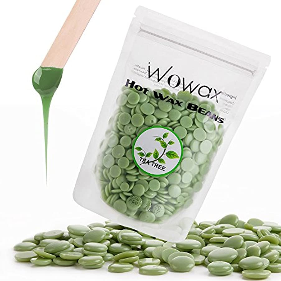 Wowax Green Hard Wax Beans for Facial Hair, 10.5oz/300g Stripless Hair Removal Hot Wax Beads For Body, Lips, Armpits, Eyebrows and Sensitive Skin, Tea Tree