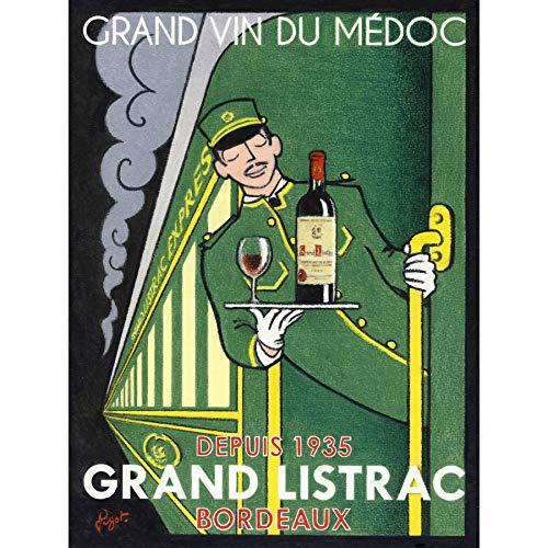 Wee Blauwe Coo Wijn Grand Vin Medoc Listrac Express Ingelijste Muur Art Print 18X24 In