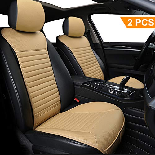 Car Seat Cushion 2 Pack, Big Ant Sleek Design Full Size Breathable Universal Four Seasons Interior Front or Back Seat Covers for Auto Supplies Office Chair with PU Leather(Beige)