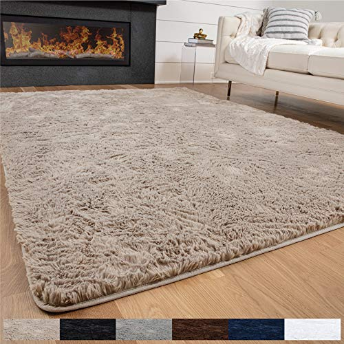 GORILLA GRIP Original Premium Fluffy Area Rug, 7.5x10 Feet, Super Soft High Pile Shag Carpet, Washer and Dryer Safe, Modern Rugs for Floor, Luxury Carpets for Home, Nursery, Bed and Living Room, Beige