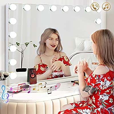 Hansong Vanity Mirror with 18pcs LED Large Hollywood Makeup Mirror lighting Cosmetic Mirror 3 Color Lighting Modes Tabletop or Wallmount Vanity Slim Makeup Mirror with USB Charging Port&Bluetooth (XL)