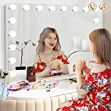 Hansong Vanity Mirror with 18 pcs LED, Extra Large Hollywood Makeup Mirror Lighting Cosmetic Mirror 3 Color Lighting Modes Tabletop or Wallmount Vanity Slim Mirror with USB Charging Port&Bluetooth