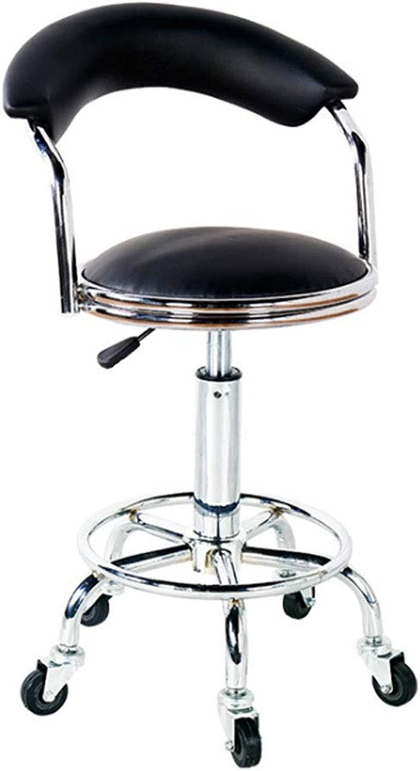 Bar stools Rolling Swivel Salon Massage Stool, with Backrest, for Tattoo Facial Spa Clinic Kitchen Bar Height Chair (color   Black)